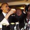 President Obama and first lady Michelle Obama sample Guinness at a pub in the village of Moneygall, Ireland. Obama's great-great-great grandfather Falmouth Kearney was a shoemaker in the town until 1850, when he left for the United States.