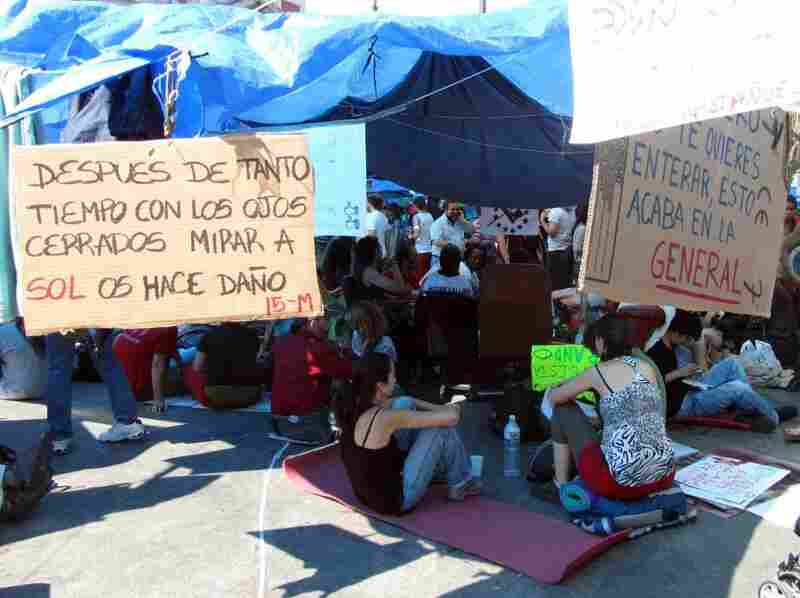 An urban encampment has sprung up in Madrid's central square, Puerta del Sol. The sit-in, which started a week ago, has rapidly grown in size.