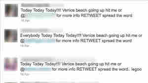 A selected series of tweets from April 16-17 show what police and Venice311, a neighborhood watch group, say was an effort to organize a flash mob in Venice Beach, Calif. A man was shot near the boardwalk where hundreds of people had gathered. NPR has obscured identifying information for individuals in the tweets.