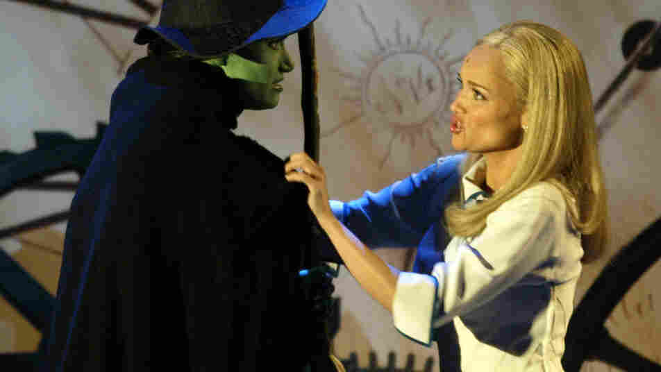 Idina Menzel (left) and Kristin Chenoweth of Wicked perform during the 58th Annual Tony Awards.