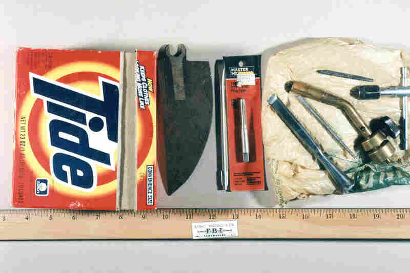 "This was one of Kaczynski's homemade ""tool kits."" He kept small tools in several makeshift containers, including this Tide box."