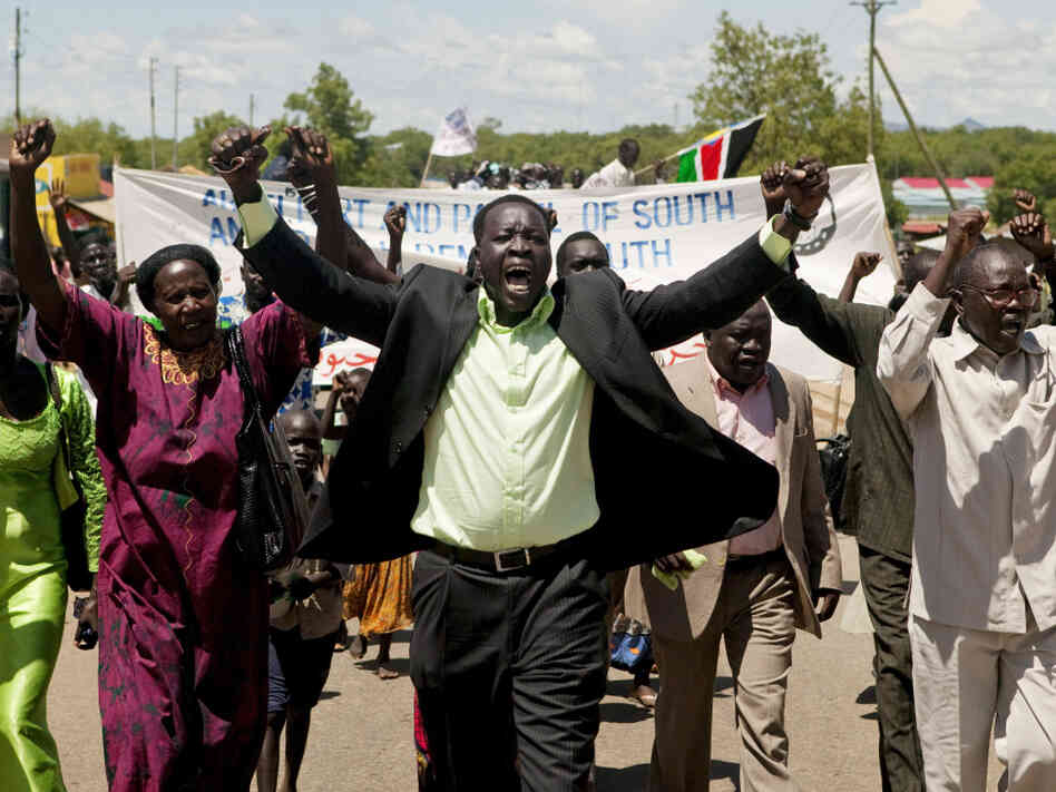 Hundreds of southern Sudanese take part in a demonstration against northern Sudan's military incursion into the border town of Abyei in the southern capital of Juba on May 23. The northern Sudanese military took effective control of Abyei on Saturday.
