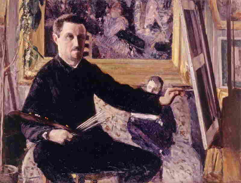 Caillebotte painted this self-portrait in 1879 at age 31. In the background, he has placed Dance at Le moulin de la Galette, painted three years earlier by his friend Pierre-Auguste Renoir. (See that painting by Renoir below.)