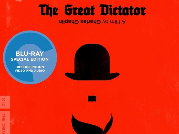 The minimalist cover of the Criterion Collection release of <em>The Great Dictator</em>.