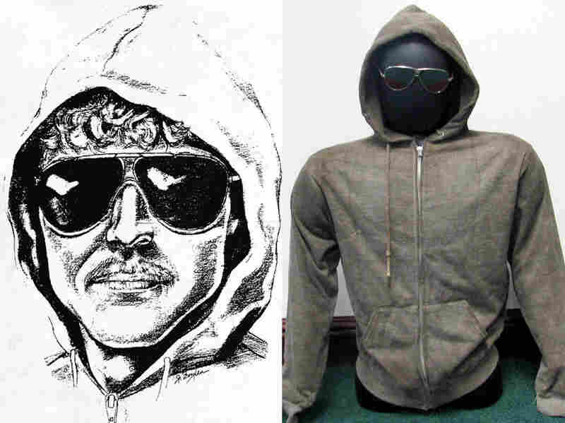 A composite shows the iconic sketch of Ted Kaczynski released by the FBI and, years later, his hoodie and sunglasses, now up for auction.