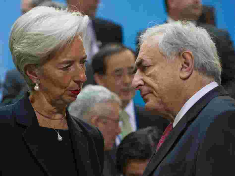 French Finance Minister Christine Lagarde speaks with International Monetary Fund managing director Dominique Strauss-Kahn at a meeting of international finance leaders on April 15. In the wake of Strauss-Kahn's resignation from the IMF, many experts believe Lagarde is well-positioned to take the job.