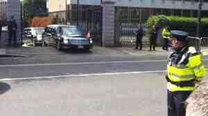 Stuck on a bump. One of the limousines in the president's motorcade, Monday in Dublin.