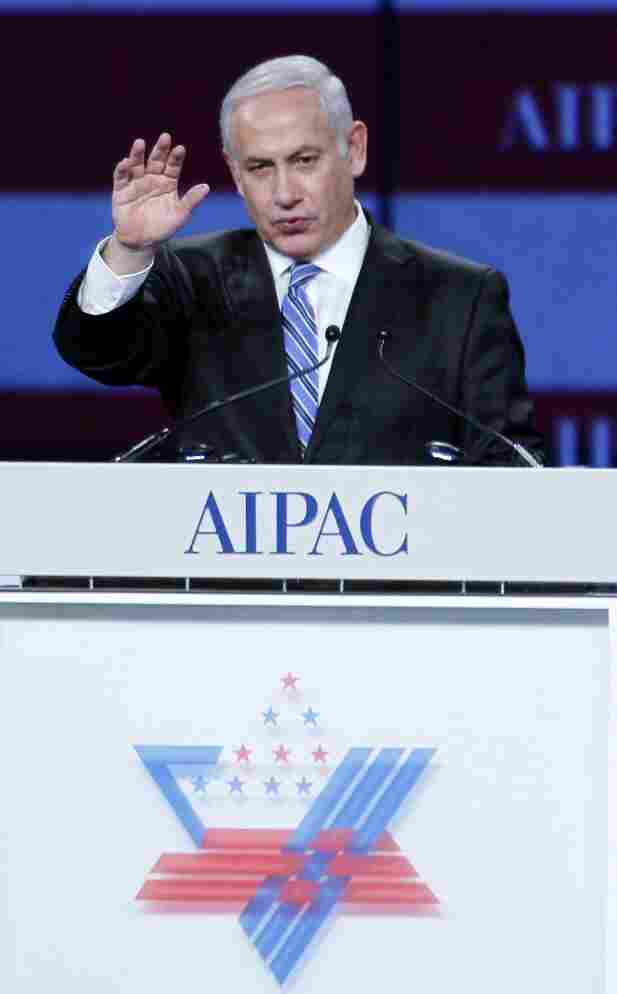 Israeli Prime Minister Benjamin Netanyahu speaks at the American Israel Public Affairs Committee (AIPAC) gala banquet in Washington, D.C., on Monday. He has promised to present his vision for Israeli-Palestinian peace in a speech before a joint meeting of Congress on Tuesday.