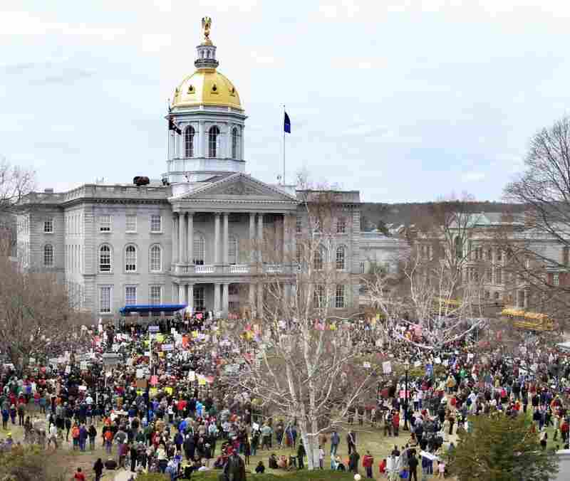At the end of March, more than 2,000 people gathered on the plaza in front of the New Hampshire statehouse to protest spending cuts and the provision that would strip public employees of their union protections. Today, it's still busy with voters trying to influence lawmakers ahead of Wednesday's override vote.