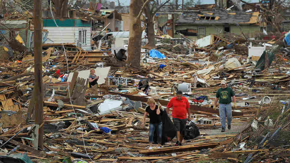 In Joplin today: Some of the destruction.