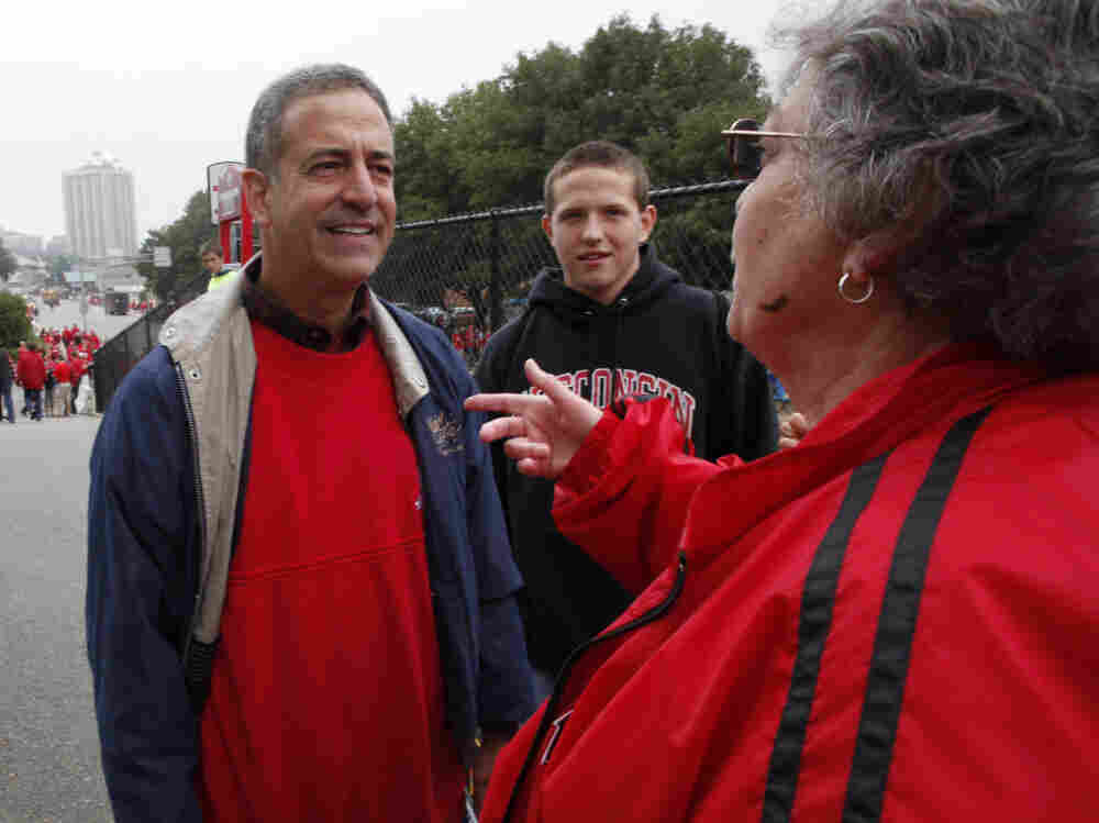 Russ Feingold outside Camp Randall Stadium before a University of Wisconsin football game, Sept. 11, 2010.