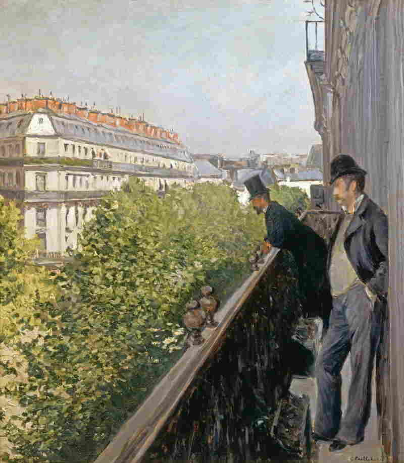 In Caillebotte's 1880 work, Un  Balcon, two men gaze down at Boulevard Haussmann below, yet still appear dwarfed by the street.