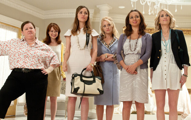 The cast of Paul Feig's Bridesmaids: Melissa McCarthy (from left), Ellie Kemper, Rose Byrne, Wendi McLendon-Covey, Maya Rudolph and co-writer Kristen Wiig.