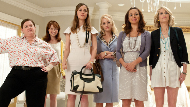 The cast of Paul Feig's Bridesmaids: Melissa McCarthy (from left), Ellie Kemper, Rose Byrne, Wendi McLendon-Covey, Maya Rudolph and co-writer Kristen Wiig. (Universal Pictures)