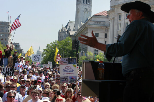 Dick Armey, founder of FreedomWorks, a Tea Party group, and a former House GOP leader, speaks at a Tea Party rally in Washington, April 15, 2010.