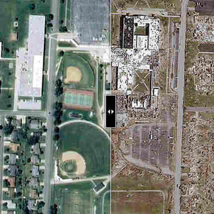 A bird's-eye view of Joplin, Mo., two days after a tornado leveled most of the town.