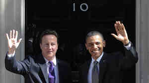 British Prime Minister David Cameron and President Obama earlier today (May 25, 2011).