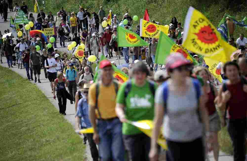Demonstrators attend a protest on May 22, 2011 in northern Switzerland against nuclear power.