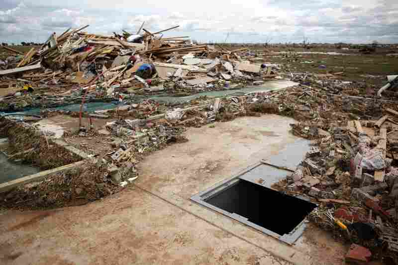 A storm shelter in Piedmont, Okla.