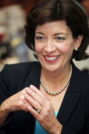 Congresswoman-elect Kathy Hochul while talking with supporters in Depew, N.Y., Wednesday, May 25, 2011.  Hochul