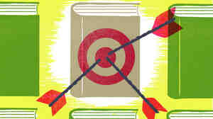 An illustration of arrows hitting a book target