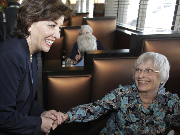 Congresswoman-elect Kathy Hochul (D-NY) thanks a voter, May 25, 2011.