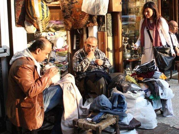 NPR's Lourdes Garcia-Navarro, at right, on assignment in Egypt