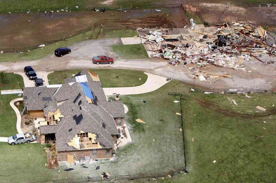 Two tornado damaged homes in Newcastle, Okla.