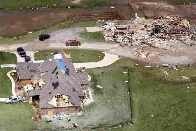 Two tornado damaged homes in Newcastle, Okla.