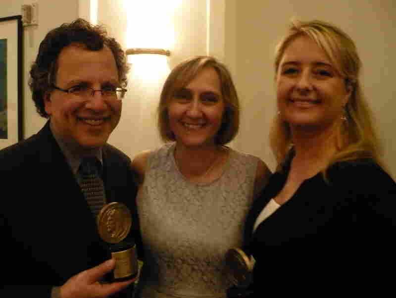 NPR's Joseph Shapiro, Susanne Reber and Laura Sullivan following the Peabody Award ceremony.