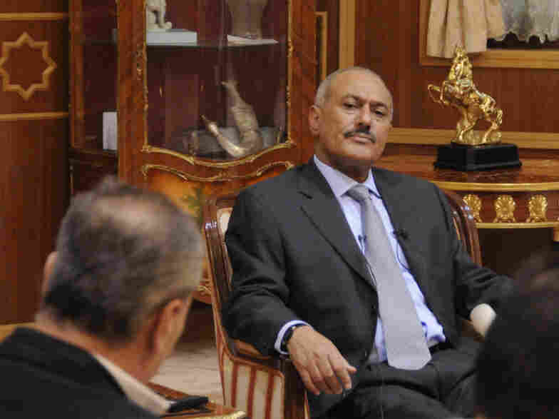 "President Ali Abdullah Saleh attends an interview with selected media in Sanaa on May 25. Saleh said he would not step down or allow the country to become a ""failed state."""