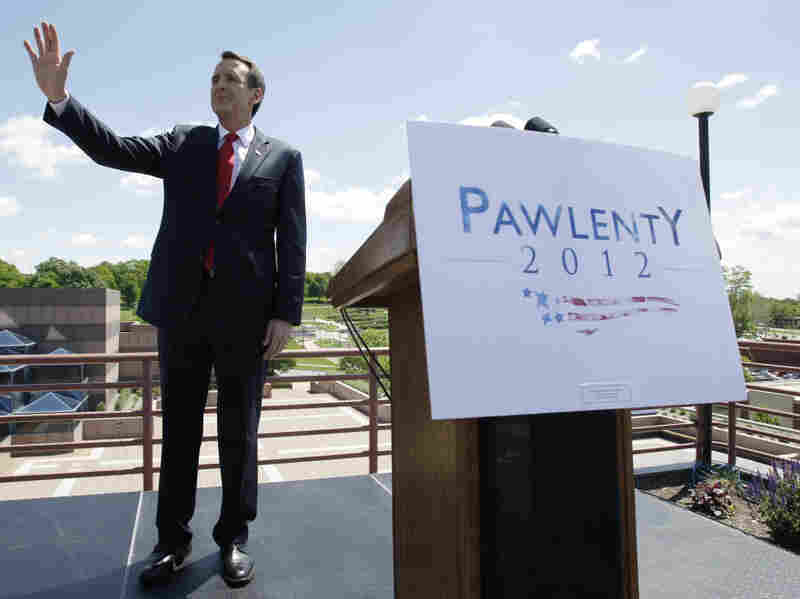 Former Minnesota Governor Tim Pawlenty speaks during a town hall meeting on May 23 at the State of Iowa Historical Building in Des Moines. He told corn-dependent Iowa that its prized federal subsidies for ethanol should be phased out.