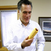 Former Massachusetts Gov. Mitt Romney focuses on a key issue — corn — in Ankeny, Iowa, on Friday, as he prepares to launch his 2012 presidential bid.