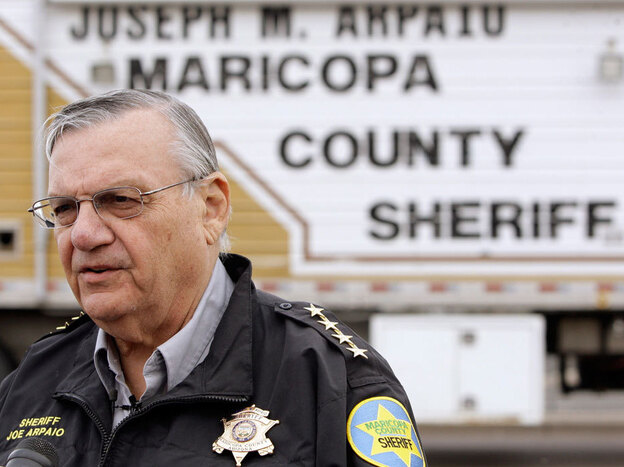 Maricopa  County Sheriff Joe Arpaio talks during a news  conference before a protest march against the sheriff and his policies on Jan. 16, 2010, in Phoenix.