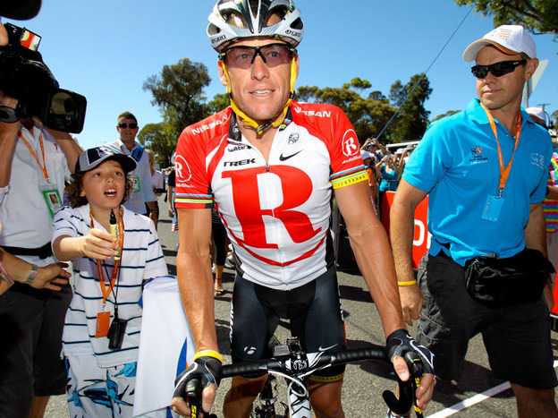 Lance Armstrong before the start of stage 5 of the 2011 Tour Down Under.
