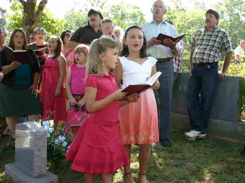 Hymn-singing at Brendle Hill Cemetery Decoration, Swain County, NC on June 10, 2007.