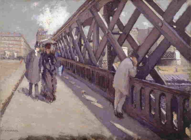 Many of Caillebotte's paintings depict the modernization of Paris. In his 1876 painting, Le Pont de l'Europe, pedestrians on a new bridge are engulfed by steel girders.