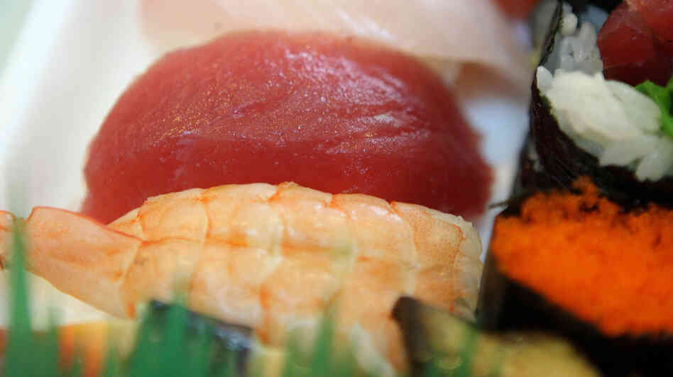A chunk of bluefin tuna (center) at a sushi restaurant in San Francisco.