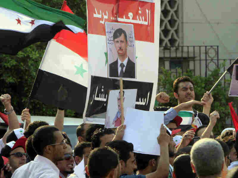 Protesters demand that Syrian President Bashar al-Assad step down, in front of Arab League headquarters in Cairo.