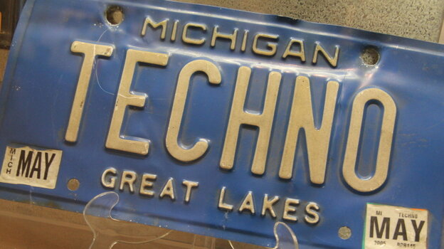 A Michigan license plate on exhibit at the techno museum run by Submerge and housed in the label's building.