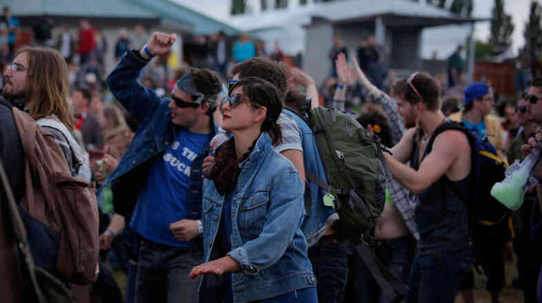 Jessica McLeod, center, dances along to Mariachi El Bronx with her friends, who came to Sasquatch from Victoria, BC in a caravan of fifteen cars.