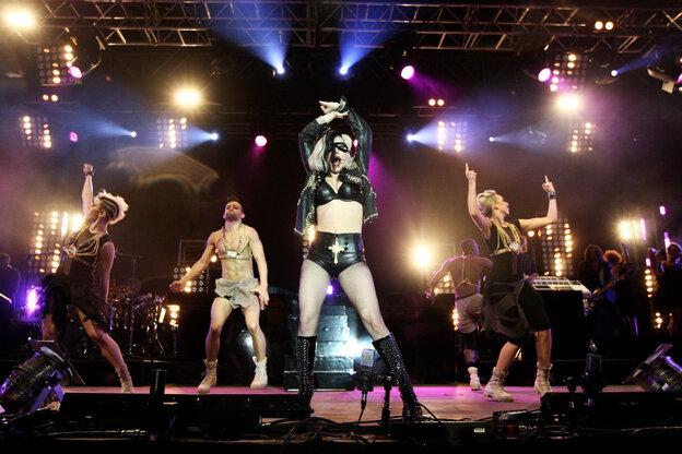 Lady Gaga performs in Carlisle, England in May 2011.