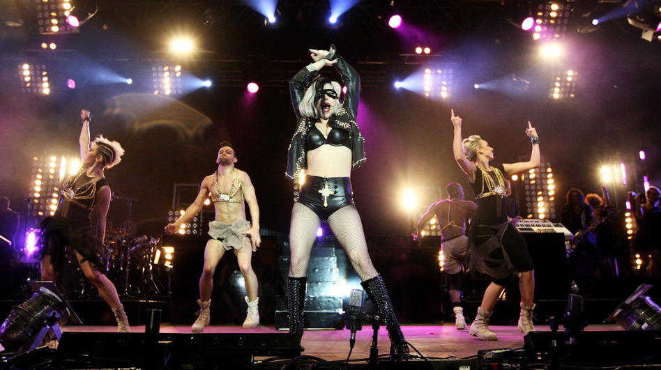 Lady Gaga performs in Carlisle, England in May 2011.