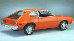 The 1978 Ford Pinto is shown in this company handout photo. This subcompact became a hot seller for Ford after its introduction in 1970. The Pinto's 10-year run was marred by litigation over the car's fuel tank design. Twenty-seven people died during the 1970s in fuel tank fires in the Pinto, which Ford eventually recalled.