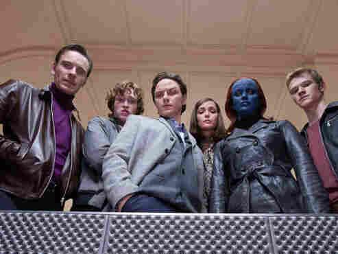 Fassbender (left), Caleb Landry Jones, James McAvoy, Rose Byrne, Jennifer Lawrence and Lucas Till are all mutants — but not always on the same side.