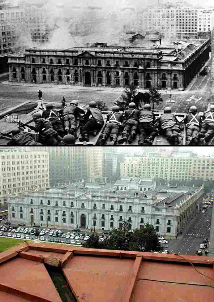 Above, Chilean troops fire on the presidential palace in Santiago during a coup led by Gen. Augusto Pinochet against President Salvador Allende. Below, the same place almost 30 years later.