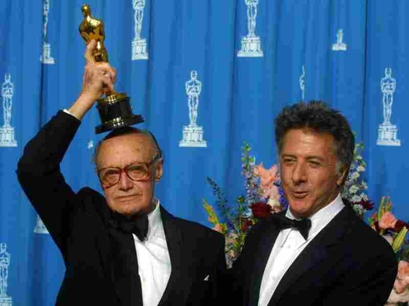In 2001, Cardiff, shown here with actor Dustin Hoffman, won an honorary Oscar. He was the first cinematographer ever to be given the award for lifetime achievement.