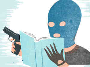 A man in a ski mask holds a gun and reads a book.