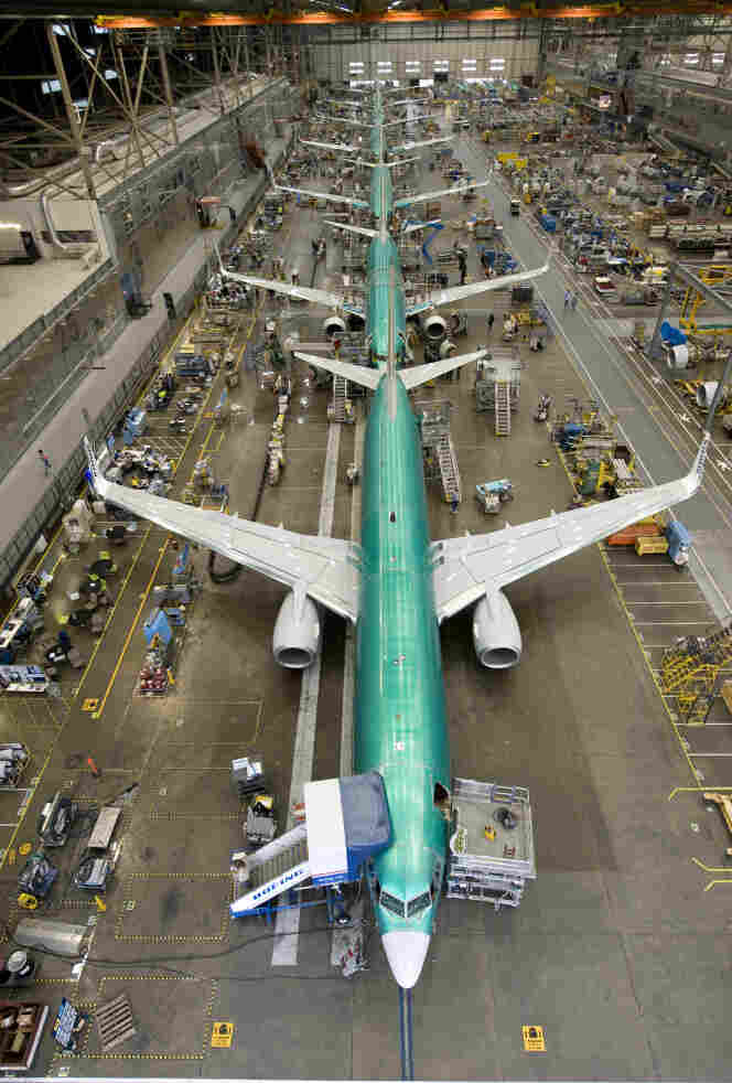 A row of 737's being fitted with the new interior at Boeing's Renton, Wash., factory.