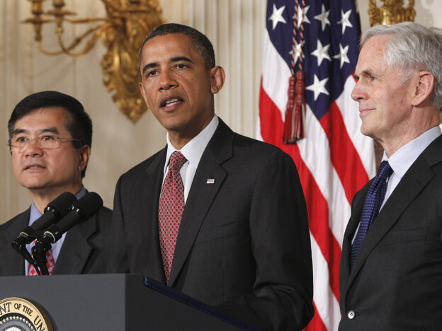 President Obama with John Bryson (r), his Commerce Secretary nominee, right, and current Gary Locke, the current secretary, Tuesday, May 31, 2011.